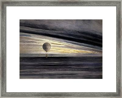 The Balloon, Zenith, During A Long Distance Flight From Paris To Bordeaux  Framed Print by French School