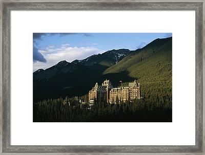 The Banff Springs Hotel, Nestled In An Framed Print
