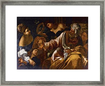 The Banishment Of Hagar And Ishmael Framed Print by Follower of Francesco Ruschi