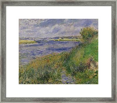 The Banks Of The Seine Champrosay Framed Print by Pierre Auguste Renoir