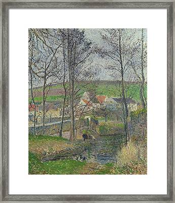 The Banks Of The Viosne At Osny In Grey Weather, Winter Framed Print