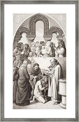 The Baptism Of Ethelbert King Of Kent Framed Print by Vintage Design Pics