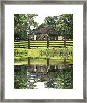 The Barn And The Pond Pennsbury Manor Framed Print by Valerie Stein