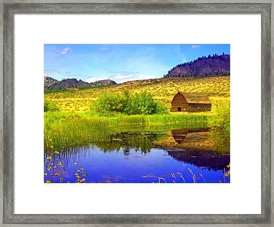 The Barn And The Pond Framed Print by Tara Turner