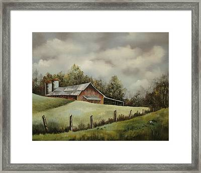 The Barn And The Sky Framed Print by Jerry Kelley