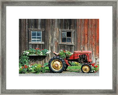 The Barn And Tractor Framed Print