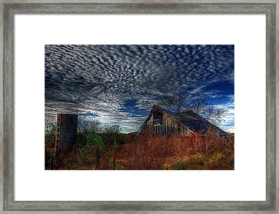 The Barn At Twilight Framed Print by Karen McKenzie McAdoo