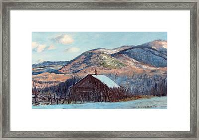 The Barn In Winter Framed Print by Bonnie Mason
