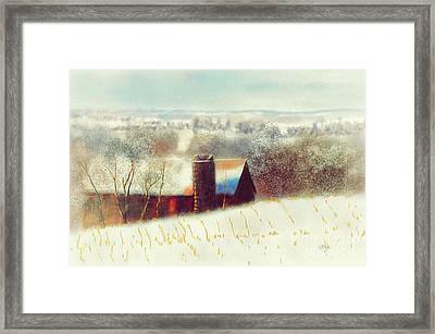 The Barn Over The Hill Framed Print by Lois Bryan