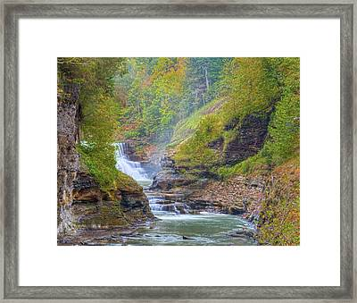 The Bashful Lower Falls Framed Print by Angelo Marcialis