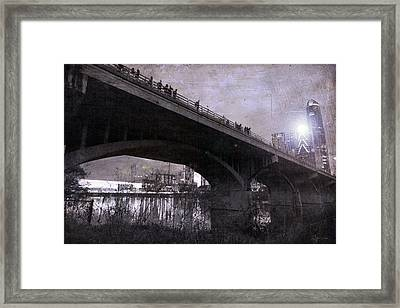 The Bat Bridge Night Austin Texas Framed Print
