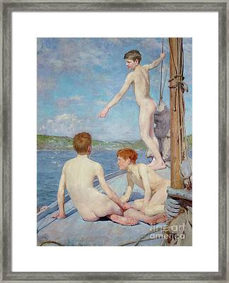 The Bathers, 1889 Framed Print by Henry Scott Tuke