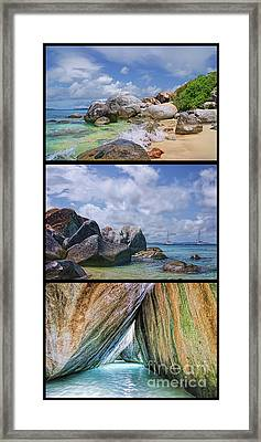 The Baths Virgin Gorda National Park Triptych Framed Print