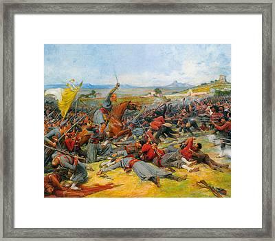 The Battle Near Mentana Framed Print by Lionel-Noel Royer