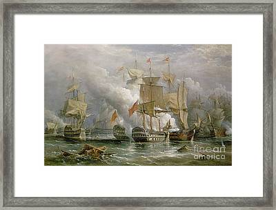 The Battle Of Cape St Vincent Framed Print by Richard Bridges Beechey