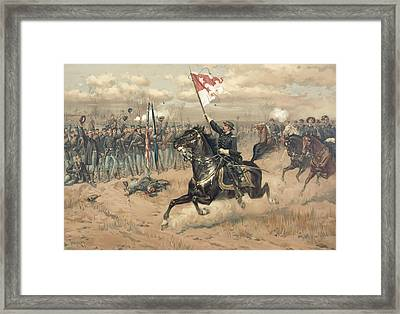 The Battle Of Cedar Creek Virginia Framed Print by Thure de Thulstrup