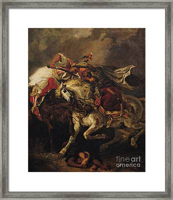 The Battle Of Giaour And Hassan Framed Print