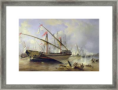 The Battle Of Grengham On 27th July 1720 Framed Print by Ferdinand Victor Perrot