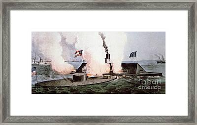 The Battle Of Hampton Roads Framed Print by American School