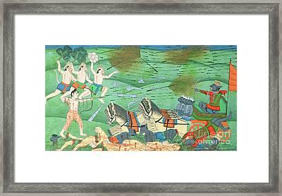The Battle Of Lanka, Between Rama And Ravana, King Of The Rakshasas, From The Ramayana Framed Print