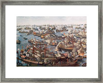The Battle Of Lepanto, The Fleet Framed Print by Everett