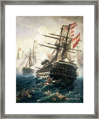 The Battle Of Lissa Framed Print by Constantin Volonakis