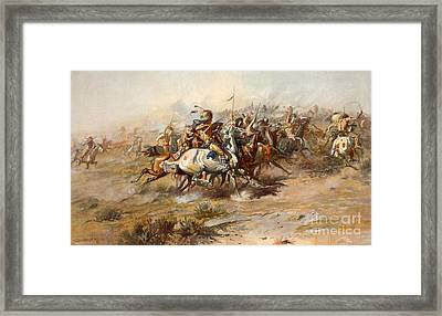 The Battle Of Little Bighorn Framed Print by Charles Marion Russell