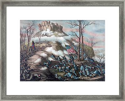 The Battle Of Lookout Mountain Framed Print by American School