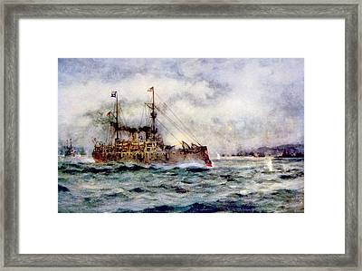 The Battle Of Manila Bay, The American Framed Print by Everett