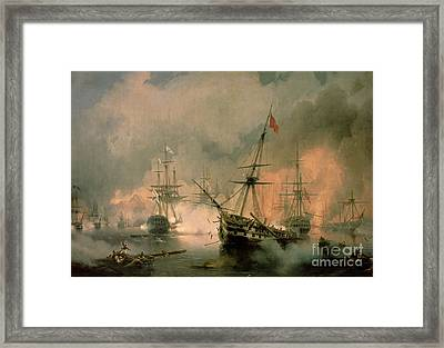 The Battle Of Navarino Framed Print by Ivan Konstantinovich Aivazovsky