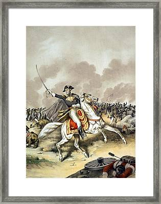 The Battle Of New Orleans With President Andrew Jackson Standing At The Front Of The American Flag W Framed Print by American School