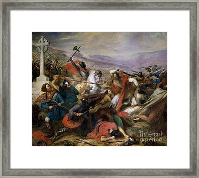 The Battle Of Poitiers Framed Print by Charles Auguste Steuben