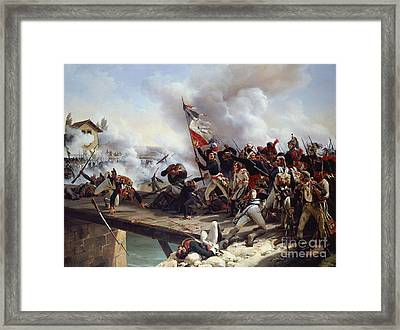 The Battle Of Pont D'arcole Framed Print by Emile Jean Horace Vernet