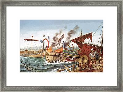 The Battle Of Salamis Framed Print by English School