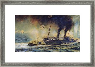 The Battle Of The Gulf Of Riga Framed Print by Mikhail Mikhailovich Semyonov