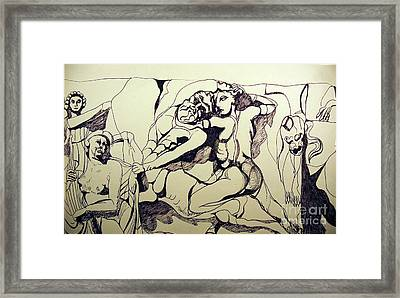 The Battle Of The Lapiths And The Centaurs Framed Print by Jane Gatward