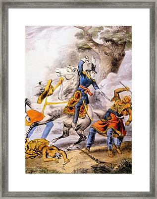 The Battle Of The Thames, The Death Framed Print