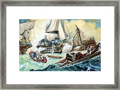 The Battle Of Trafalgar Framed Print by English School