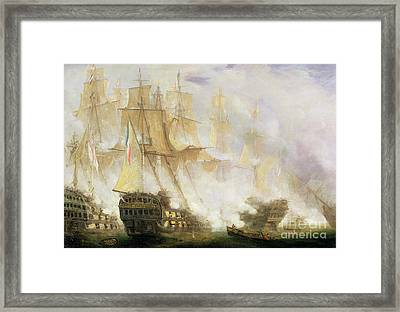 The Battle Of Trafalgar Framed Print by John Christian Schetky