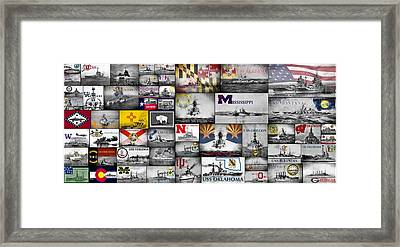 The Battleships Of All 50 States Framed Print by JC Findley