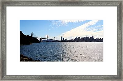 The Bay Bridge And The San Francisco Skyline Viewed From Treasure Island . 7d7771 Framed Print by Wingsdomain Art and Photography