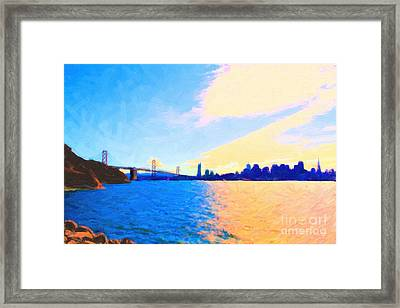The Bay Bridge And The San Francisco Skyline Framed Print by Wingsdomain Art and Photography