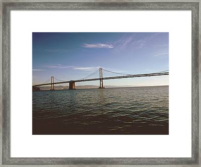 Framed Print featuring the mixed media The Bay Bridge- By Linda Woods by Linda Woods