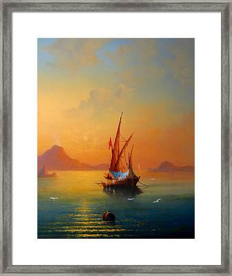 The Bay Of Naples Sardine Fishermen Framed Print by Joe Gilronan