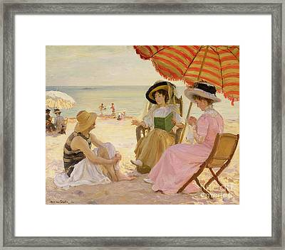 The Beach Framed Print by Alfred Victor Fournier