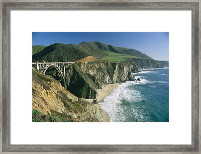 The Beach And Shoreline Along Highway 1 Framed Print by Phil Schermeister