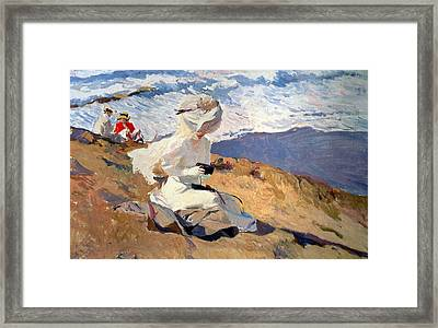 The Beach At Biarritz Framed Print by Joaquin Sorolla