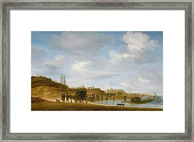 The Beach At Egmond An Zee Framed Print by Salomon van Ruysdael