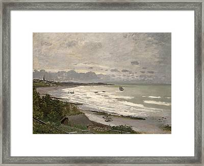 The Beach At Sainte Adresse Framed Print by Claude Monet