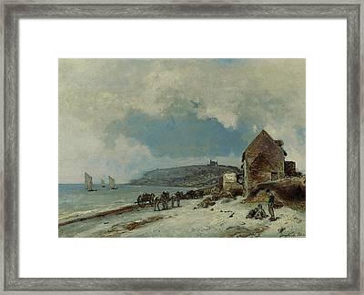The Beach At Sainte Adresse Framed Print